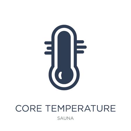 Icono de temperatura central. Icono de temperatura del núcleo de moda vector plano sobre fondo blanco de la colección de sauna, Ilustración de vectores se puede utilizar para web y móvil, eps10