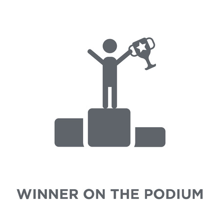 Winner on the podium icon. Winner on the podium design concept from Productivity collection. Simple element vector illustration on white background. Иллюстрация