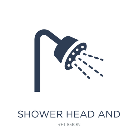 Shower Head and Water icon. Trendy flat vector Shower Head and Water icon on white background from Religion collection, vector illustration can be use for web and mobile