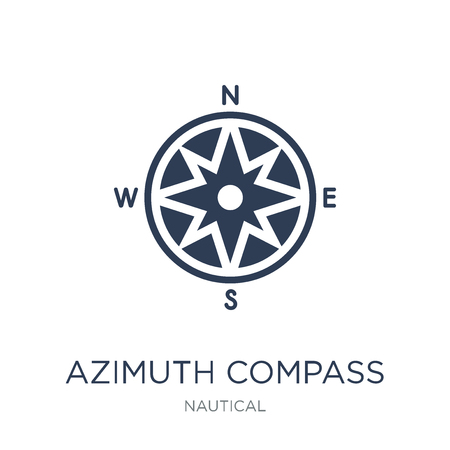 Azimuth compass icon. Trendy flat vector Azimuth compass icon on white background from Nautical collection, vector illustration can be use for web and mobile
