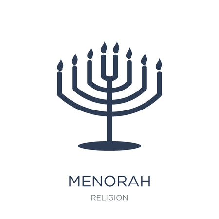 Menorah icon. Trendy flat vector Menorah icon on white background from Religion collection, vector illustration can be use for web and mobile Stock Illustratie