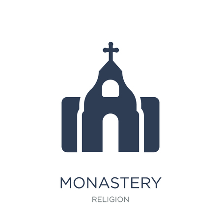 Monastery icon. Trendy flat vector Monastery icon on white background from Religion collection, vector illustration can be use for web and mobile Ilustração