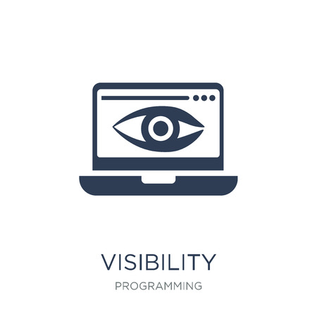 Visibility icon. Trendy flat vector Visibility icon on white background from Programming collection, vector illustration can be use for web and mobile  イラスト・ベクター素材