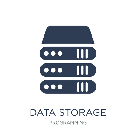 Data storage icon. Trendy flat vector Data storage icon on white background from Programming collection, vector illustration can be use for web and mobile