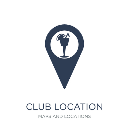 Club location icon. Trendy flat vector Club location icon on white background from Maps and Locations collection, vector illustration can be use for web and mobile