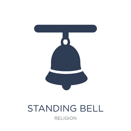 Standing bell icon. Trendy flat vector Standing bell icon on white background from Religion collection, vector illustration can be use for web and mobile 矢量图像