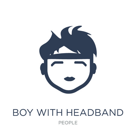 Boy with headband icon. Trendy flat vector Boy with headband icon on white background from People collection, vector illustration can be use for web and mobile