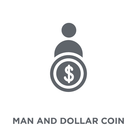 Man and dollar coin icon. Man and dollar coin design concept from Productivity collection. Simple element vector illustration on white background.