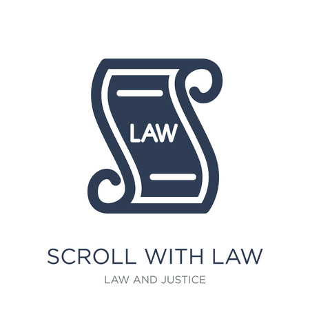 Scroll with law icon. Trendy flat vector Scroll with law icon on white background from law and justice collection, vector illustration can be use for web and mobile, eps10