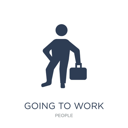 Going to work icon. Trendy flat vector Going to work icon on white background from People collection, vector illustration can be use for web and mobile, eps10 Ilustração