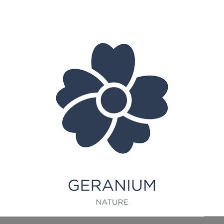 Geranie-Symbol. Trendiges flaches Vektorgeraniensymbol auf weißem Hintergrund aus der Natursammlung, Vektorillustration kann für Web und Mobile verwendet werden, eps10 Vektorgrafik