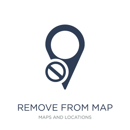 Remove from Map icon. Trendy flat vector Remove from Map icon on white background from Maps and Locations collection, vector illustration can be use for web and mobile, eps10