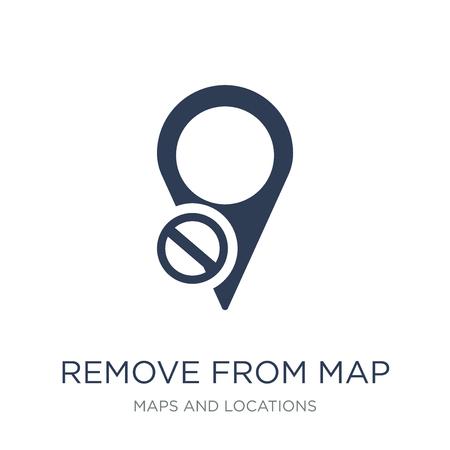 Verwijderen van kaartpictogram. Trendy platte vector verwijderen van kaartpictogram op witte achtergrond uit de collectie van kaarten en locaties, vectorillustratie kan worden gebruikt voor web en mobiel, eps10 Vector Illustratie