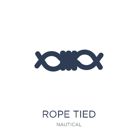 Rope Tied icon. Trendy flat vector Rope Tied icon on white background from Nautical collection, vector illustration can be use for web and mobile, eps10 Illustration