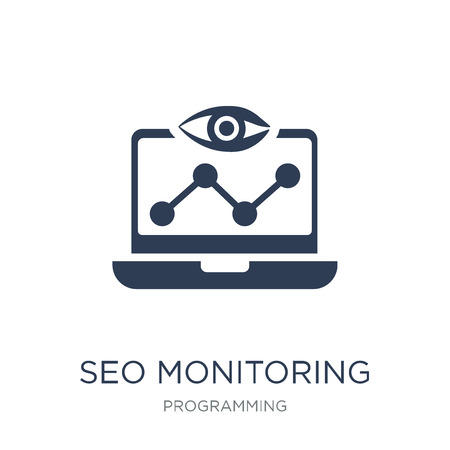 seo Monitoring icon. Trendy flat vector seo Monitoring icon on white background from Programming collection, vector illustration can be use for web and mobile, eps10