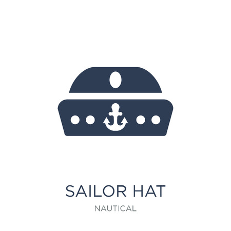Sailor Hat icon. Trendy flat vector Sailor Hat icon on white background from Nautical collection, vector illustration can be use for web and mobile, eps10