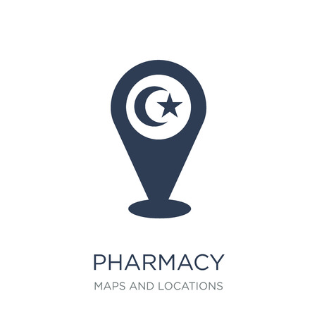 Pharmacy Sign icon. Trendy flat vector Pharmacy Sign icon on white background from Maps and Locations collection, vector illustration can be use for web and mobile, eps10
