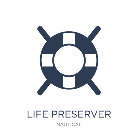 Life preserver icon. Trendy flat vector Life preserver icon on white background from Nautical collection, vector illustration can be use for web and mobile, eps10 Çizim