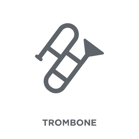 Trombone icon. Trombone design concept from Music collection. Simple element vector illustration on white background. Stock Vector - 112320578