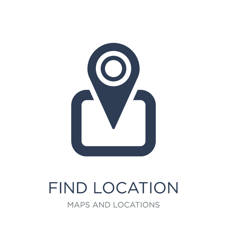 Find Location icon. Trendy flat vector Find Location icon on white background from Maps and Locations collection, vector illustration can be use for web and mobile, eps10