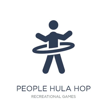 People Hula hop icon icon. Trendy flat vector People Hula hop icon on white background from Recreational games collection, vector illustration can be use for web and mobile, eps10 Stok Fotoğraf - 112320565