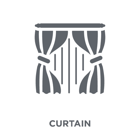 Curtain icon. Curtain design concept from  collection. Simple element vector illustration on white background. Archivio Fotografico - 112320584