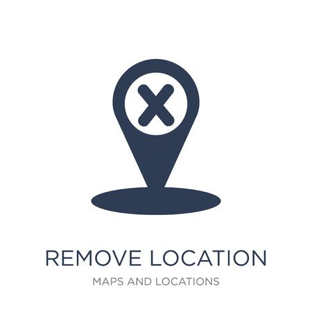 Standortsymbol entfernen. Trendiger flacher Vektor Standortsymbol auf weißem Hintergrund aus der Sammlung von Karten und Standorten entfernen, Vektorillustration kann für Web und Mobile verwendet werden, eps10
