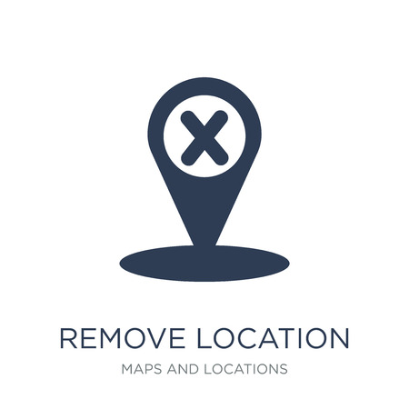 Remove Location icon. Trendy flat vector Remove Location icon on white background from Maps and Locations collection, vector illustration can be use for web and mobile, eps10 Illustration
