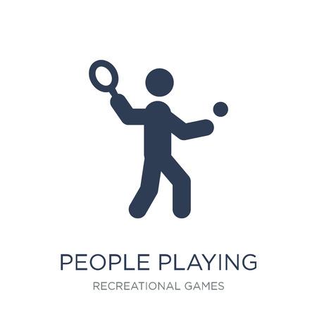 Personnes jouant l'icône d'icône de squash. Icône de vecteur plat personnes jouant au squash sur fond blanc de la collection de jeux récréatifs, illustration vectorielle peut être utilisé pour le web et mobile, eps10