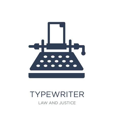 Typewriter icon. Trendy flat vector Typewriter icon on white background from law and justice collection, vector illustration can be use for web and mobile, eps10 Ilustrace