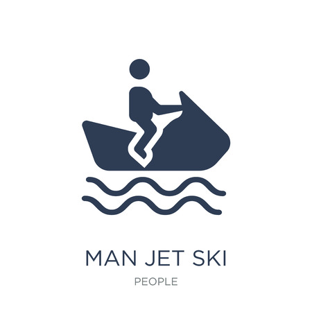 man Jet ski icon. Trendy flat vector man Jet ski icon on white background from People collection, vector illustration can be use for web and mobile, eps10 Illustration