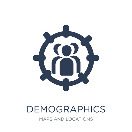 Demographics icon. Trendy flat vector Demographics icon on white background from Maps and Locations collection, vector illustration can be use for web and mobile, eps10 Ilustração