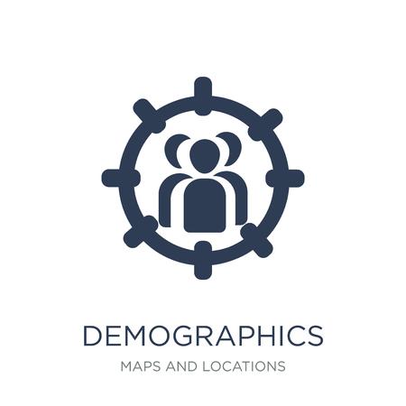Icono de demografía. Icono de demografía de moda vector plano sobre fondo blanco de la colección de mapas y ubicaciones, Ilustración de vectores se puede utilizar para web y móvil, eps10