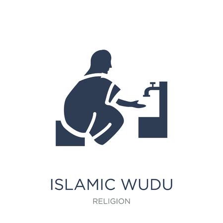 Icona di Wudu islamico. Icona di Wudu islamico piatto vettoriale su priorità bassa bianca da collezione religione, illustrazione vettoriale può essere utilizzato per il web e mobile, eps10