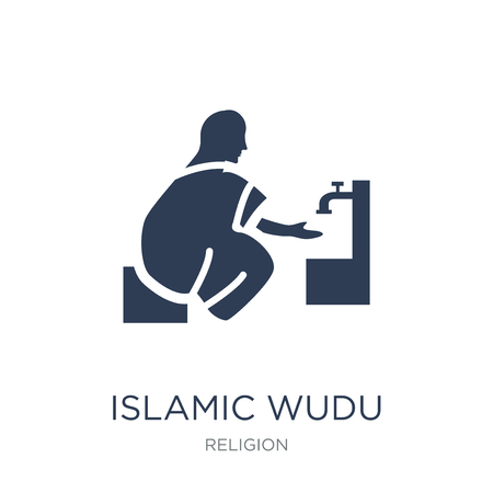 Islamic Wudu icon. Trendy flat vector Islamic Wudu icon on white background from Religion collection, vector illustration can be use for web and mobile, eps10 Çizim