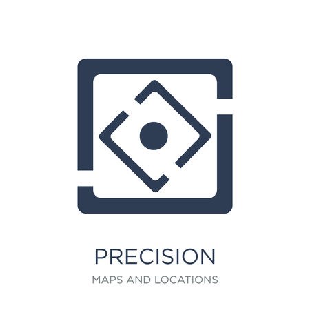Precision icon. Trendy flat vector Precision icon on white background from Maps and Locations collection, vector illustration can be use for web and mobile, eps10 Ilustração
