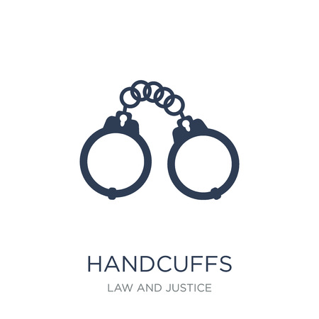 Handcuffs icon. Trendy flat vector Handcuffs icon on white background from law and justice collection, vector illustration can be use for web and mobile, eps10
