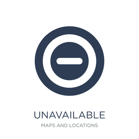 Unavailable Location icon. Trendy flat vector Unavailable Location icon on white background from Maps and Locations collection, vector illustration can be use for web and mobile, eps10 Ilustração