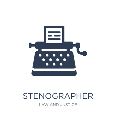 Stenographer icon. Trendy flat vector Stenographer icon on white background from law and justice collection, vector illustration can be use for web and mobile, eps10