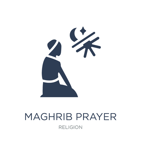 Maghrib prayer icon. Trendy flat vector Maghrib prayer icon on white background from Religion collection, vector illustration can be use for web and mobile, eps10
