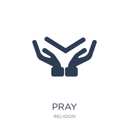Pray icon. Trendy flat vector Pray icon on white background from Religion collection, vector illustration can be use for web and mobile, eps10 Foto de archivo - 112320684