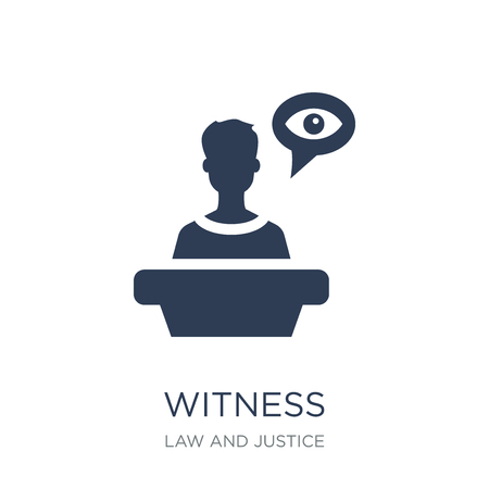 Witness icon. Trendy flat vector Witness icon on white background from law and justice collection, vector illustration can be use for web and mobile, eps10 Standard-Bild - 112320685