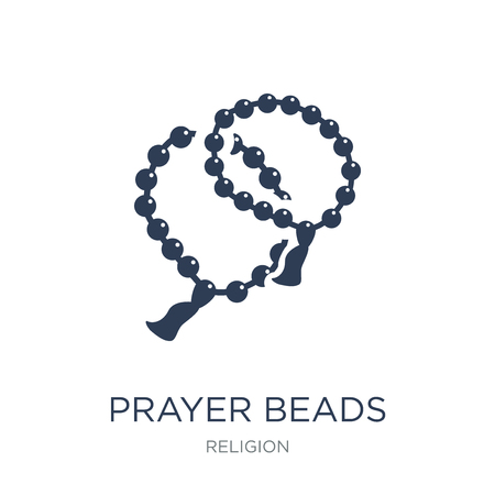 Prayer Beads icon. Trendy flat vector Prayer Beads icon on white background from Religion collection, vector illustration can be use for web and mobile, eps10 Banco de Imagens - 112320686