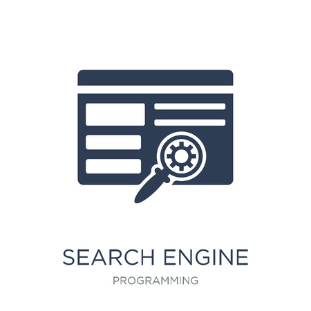 Search engine icon. Trendy flat vector Search engine icon on white background from Programming collection, vector illustration can be use for web and mobile, eps10