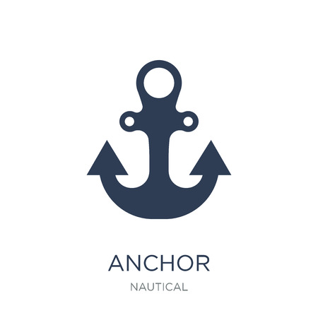 Anchor icon. Trendy flat vector Anchor icon on white background from Nautical collection, vector illustration can be use for web and mobile, eps10