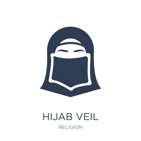 Hijab veil icon. Trendy flat vector Hijab veil icon on white background from Religion collection, vector illustration can be use for web and mobile, eps10 Illustration