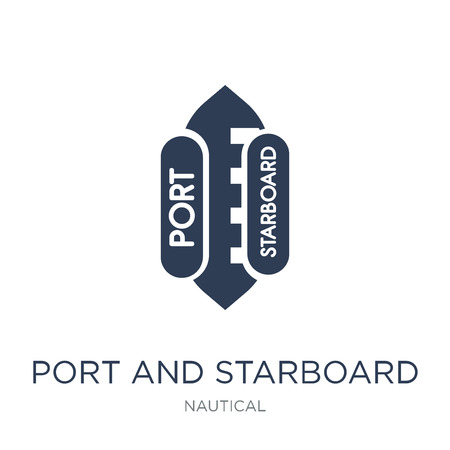 port and starboard icon. Trendy flat vector port and starboard icon on white background from Nautical collection, vector illustration can be use for web and mobile, eps10