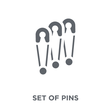 Set of Pins icon. Set of Pins design concept from Sew collection. Simple element vector illustration on white background.
