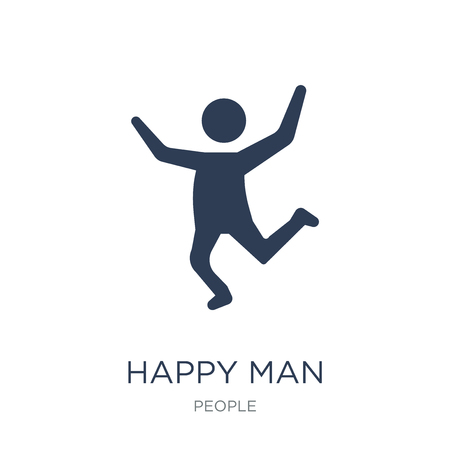 Happy man icon. Trendy flat vector Happy man icon on white background from People collection, vector illustration can be use for web and mobile, eps10