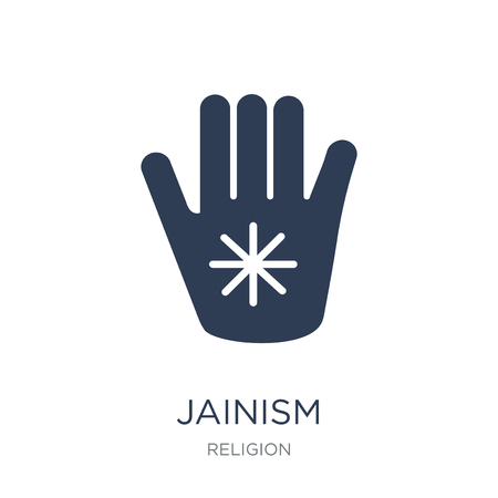 Jainism icon. Trendy flat vector Jainism icon on white background from Religion collection, vector illustration can be use for web and mobile, eps10 Çizim